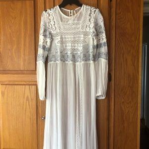 Free People/Mesh, lace and chiffon maxi dress